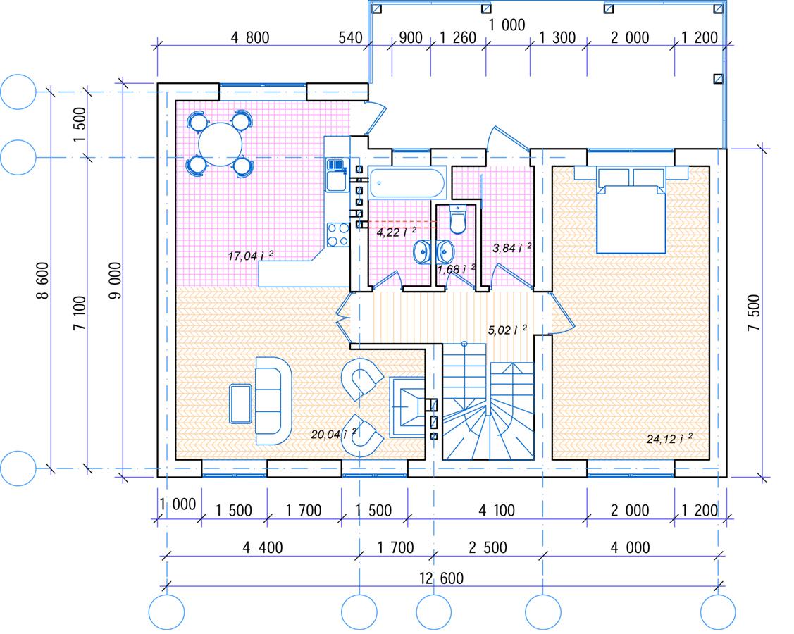 План 1 этажа Адербиевка