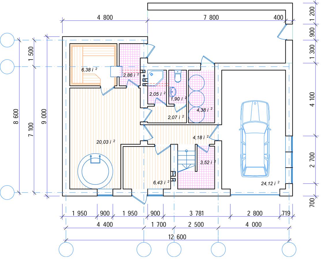 План цокольного этажа Рязаново