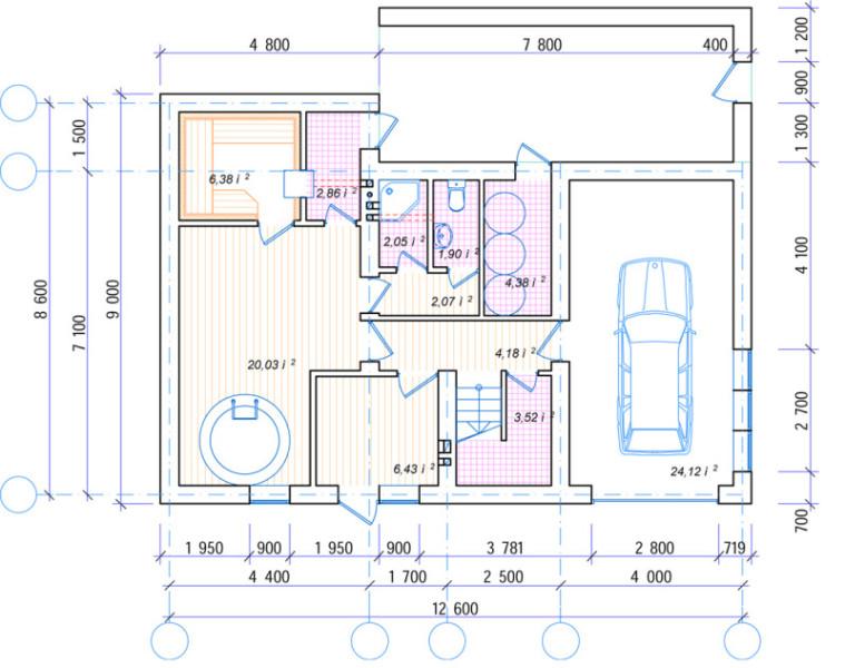 План цокольного этажа Адербиевка