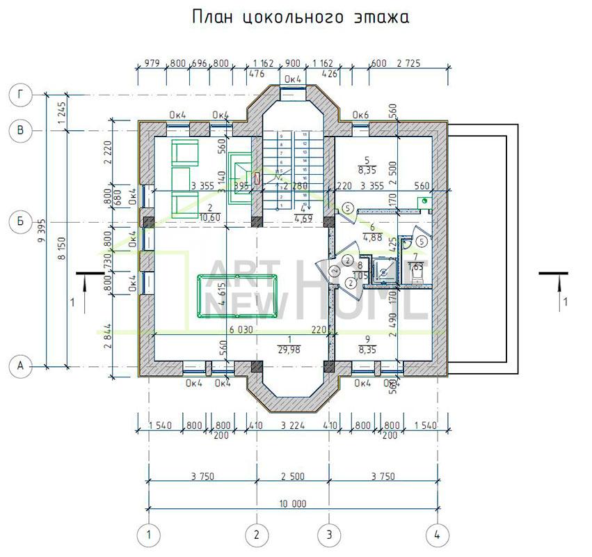 План цокольного этажа д. Соврасово