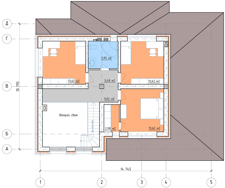 План 2 этажа Ашукино